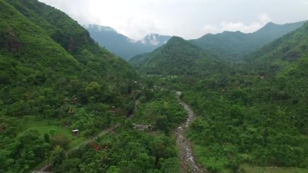 Az esőerdővel borított hegyek mentén való repülés