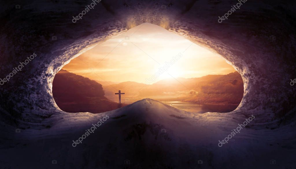 Jesus Christ Birth Death Resurrection Concept:Tomb Empty With Crucifixion At Sunrise