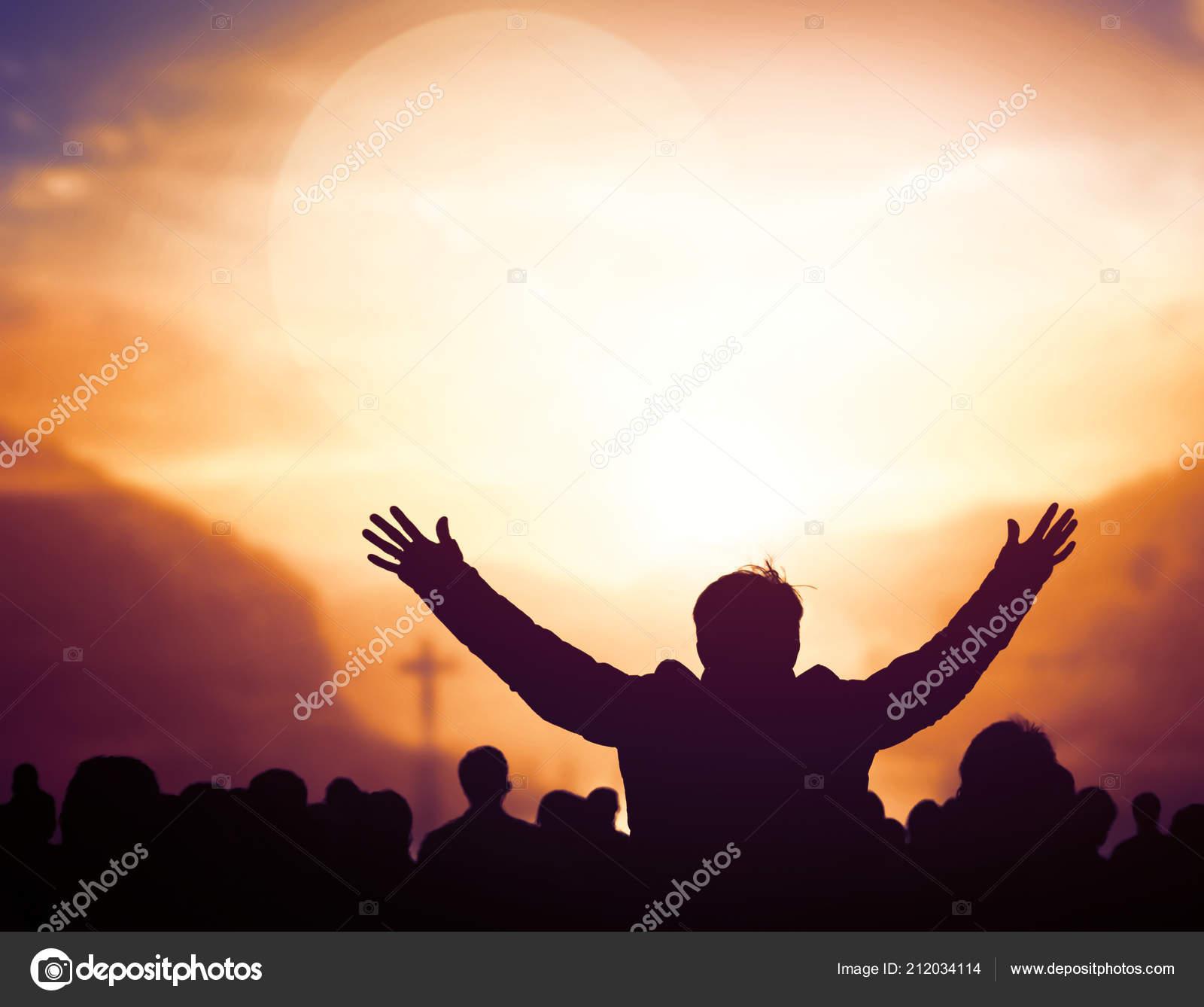 Alabanzas Cristianas De Adoracion alabanza adoración concepto silueta rezos cristianos