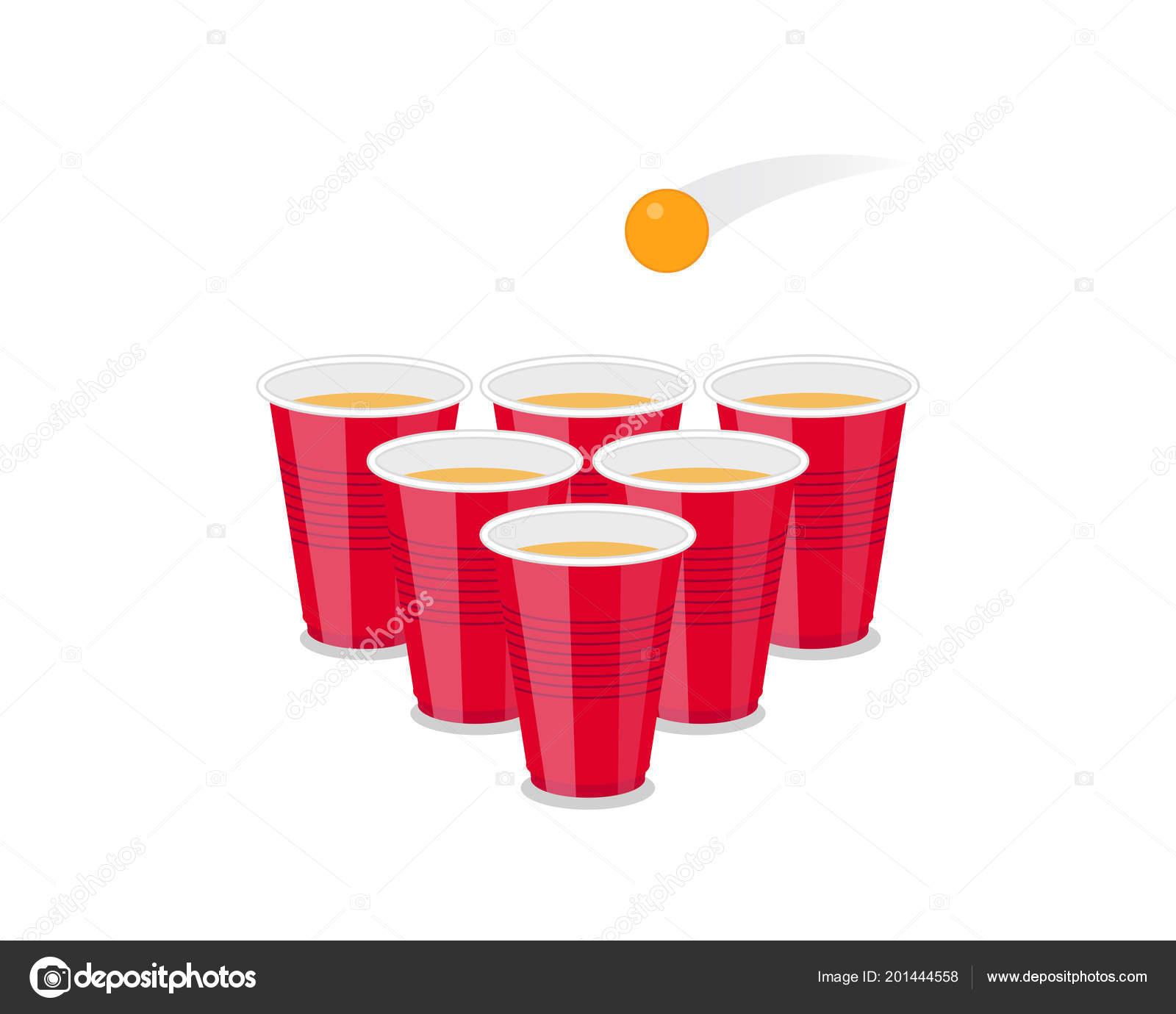 Bier Pong Turnier Flyer Als Rote Tassen Und Ping Ball Stockvektor