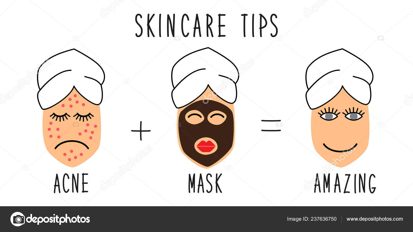 Cute And Simple Skincare Tips For Acne Treatment Stock Vector C Ishkrabal 237636750