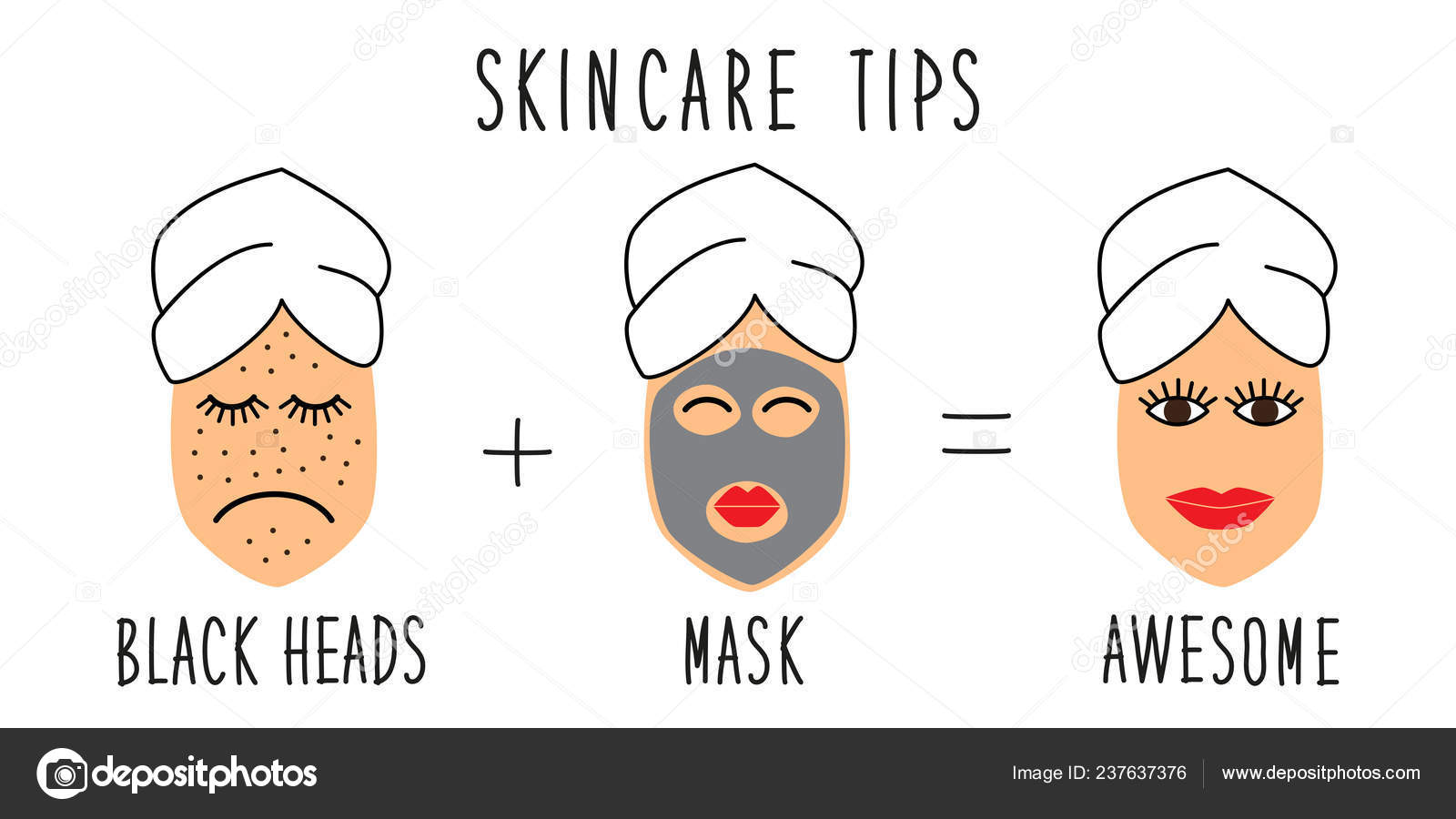Cute And Simple Skincare Tips For Black Heads Treatment Stock Vector C Ishkrabal 237637376