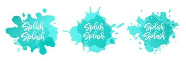Turquoise gradient spots set on isolated background, abstract elements for trendy design