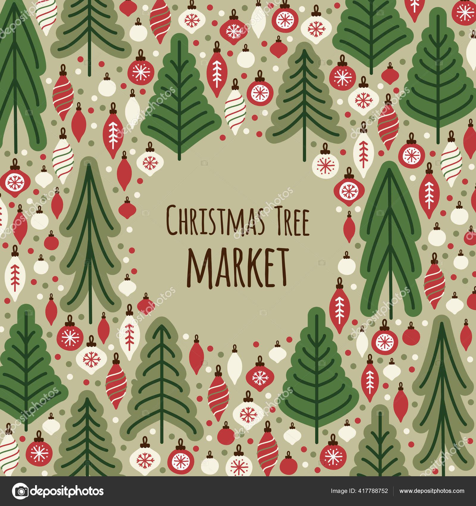 Cute Scandinavian Christmas Tree Market Fundo Com Abetos Imagem Vetorial De C Ishkrabal 417788752