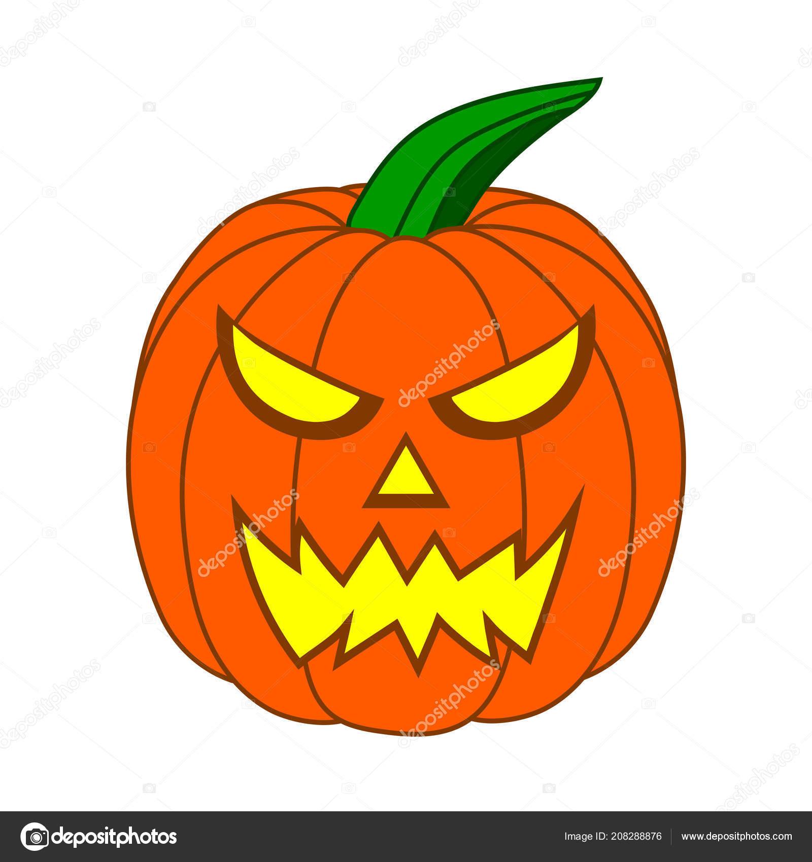 Halloween Pumpkin Cartoon Images.Scary Cartoon Halloween Pumpkin Funny Face Isolated White