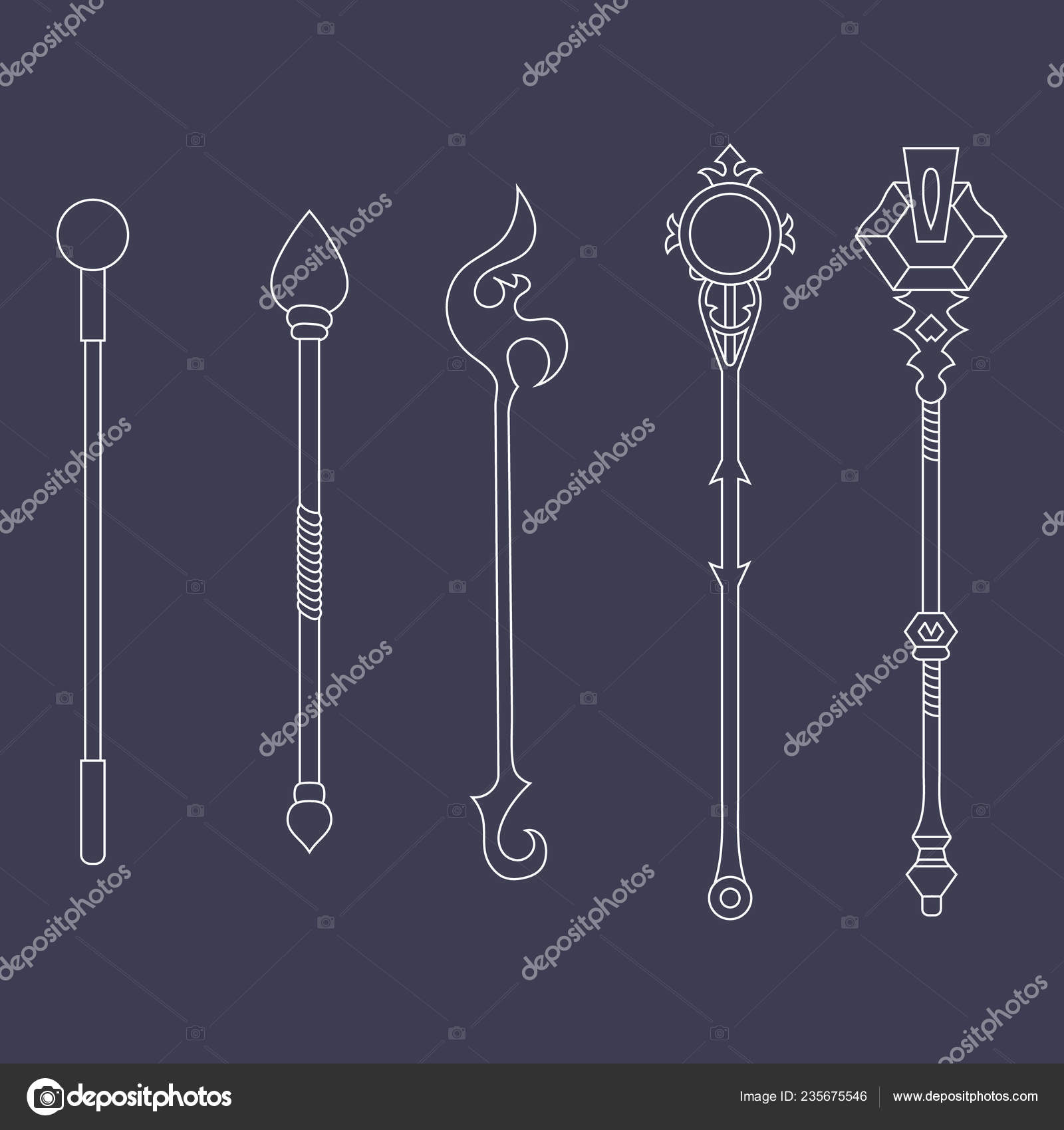 Set Staff Icons Isolated White Background Magic Weapon Vector