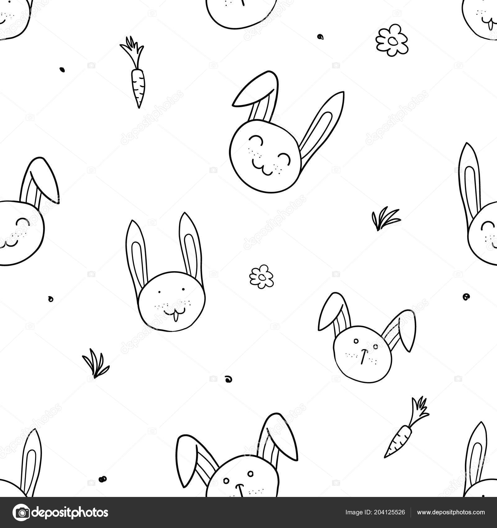 Hand drawn black and white simple doodle rabbit pattern in kids style seamless background with drawing vector sketch illustrations vector by