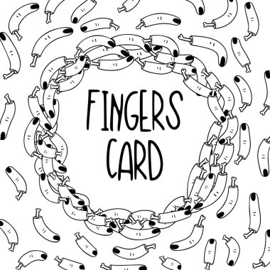 Hand Drawn Black and White Simple tattoo Doodle fingers card in Kids Style. Template Background with Drawing Vector tattoo Sketch Illustrations