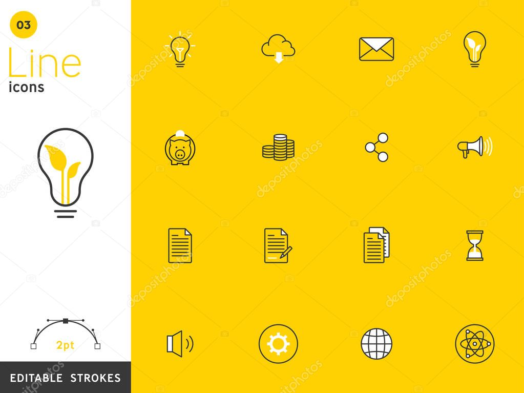 Environment and basic yellow line icon collection, editable strokes. For mobile concepts and web apps. Vector illustration, clean flat design