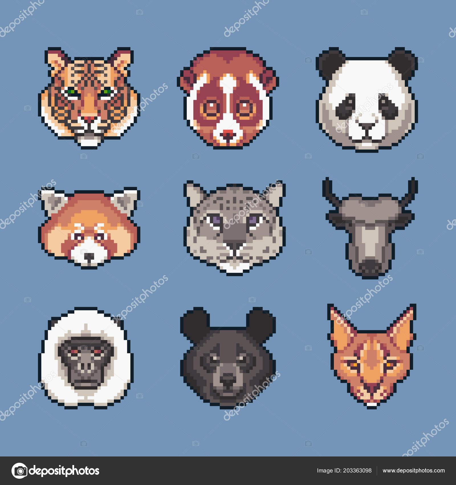 Animaux Sauvages Asiatiques Pixel Art Vector Icons Set