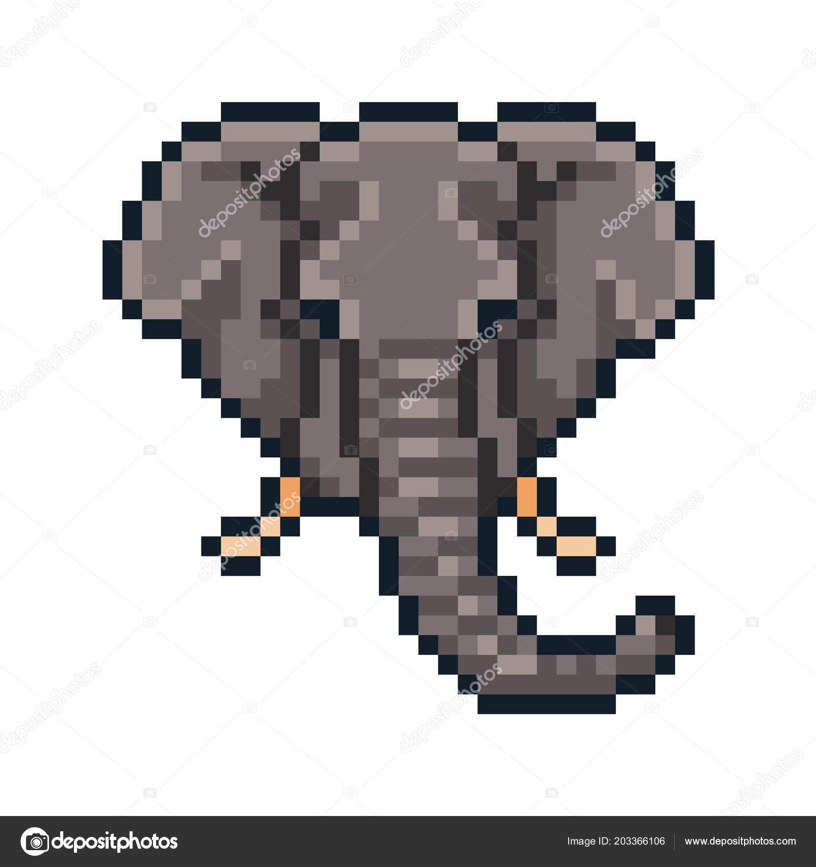 Pixel Art Vector Elephant Isolated White Background Image