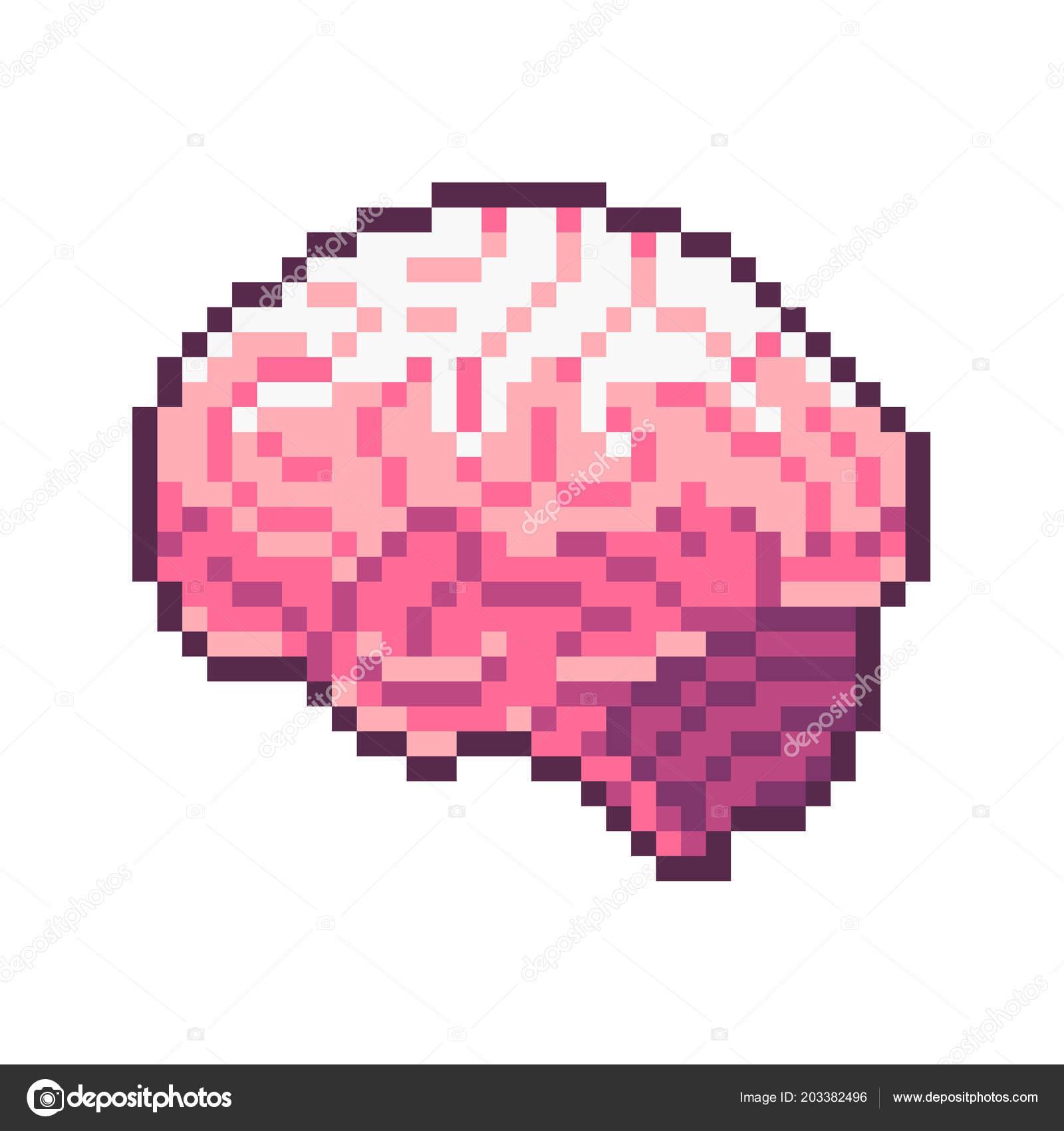 Wonderful Pixel Art Vector Pink Brain Isolated White Background U2014 Stock Vector