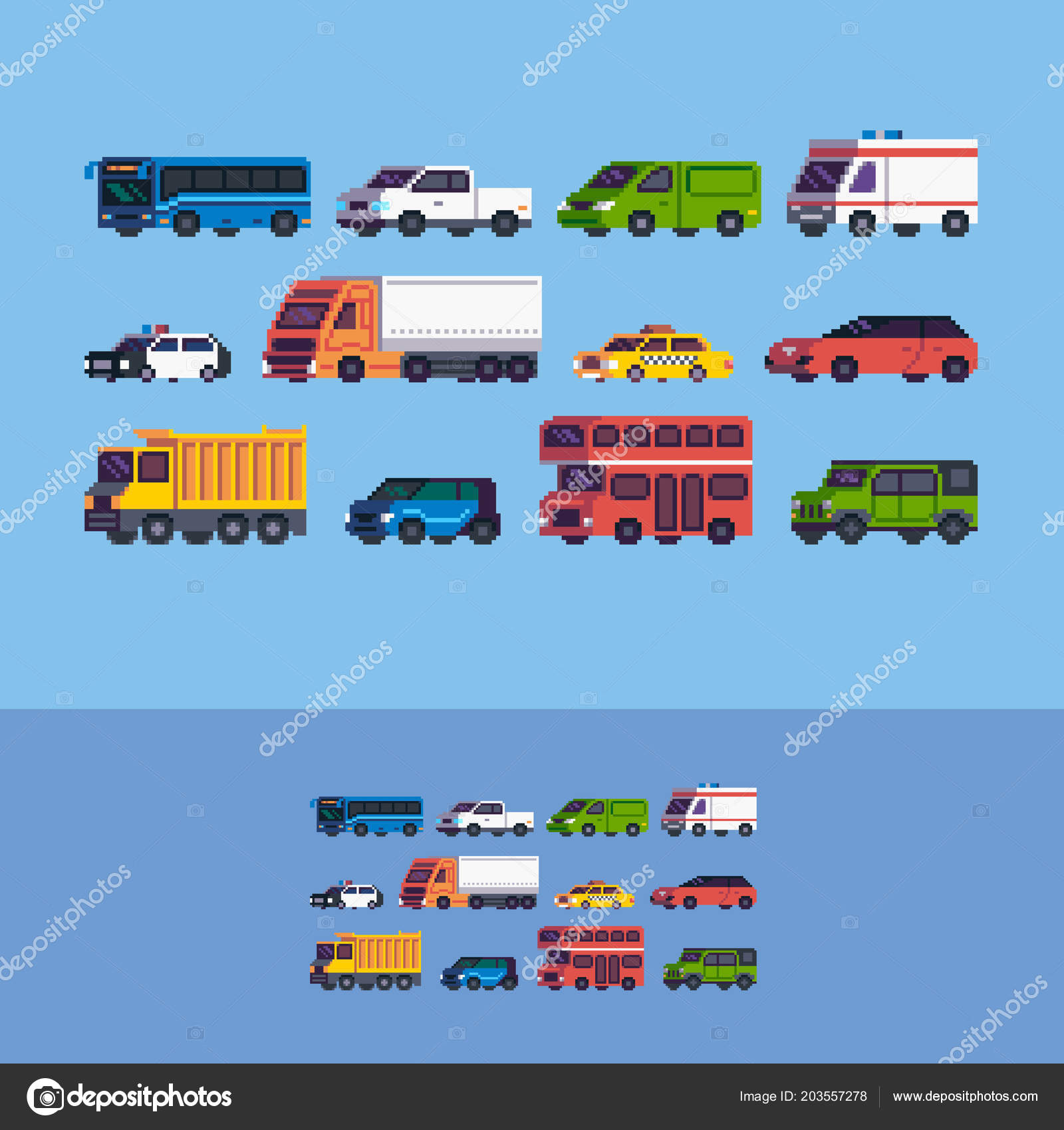 Pixel Art Cars Different Tipe Vehicle Vector Icons Set
