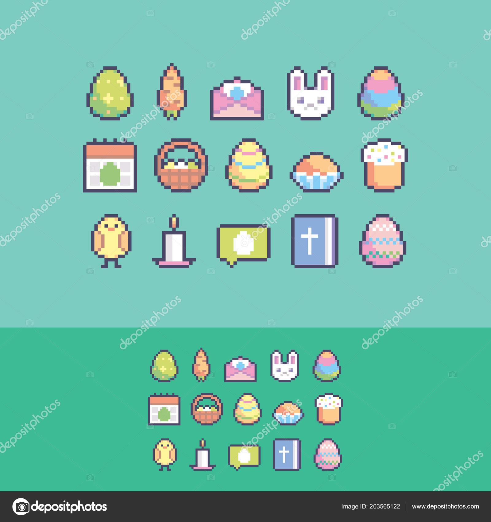 Set Icônes Vectorielles Pâques Mignons Pixel Art Image