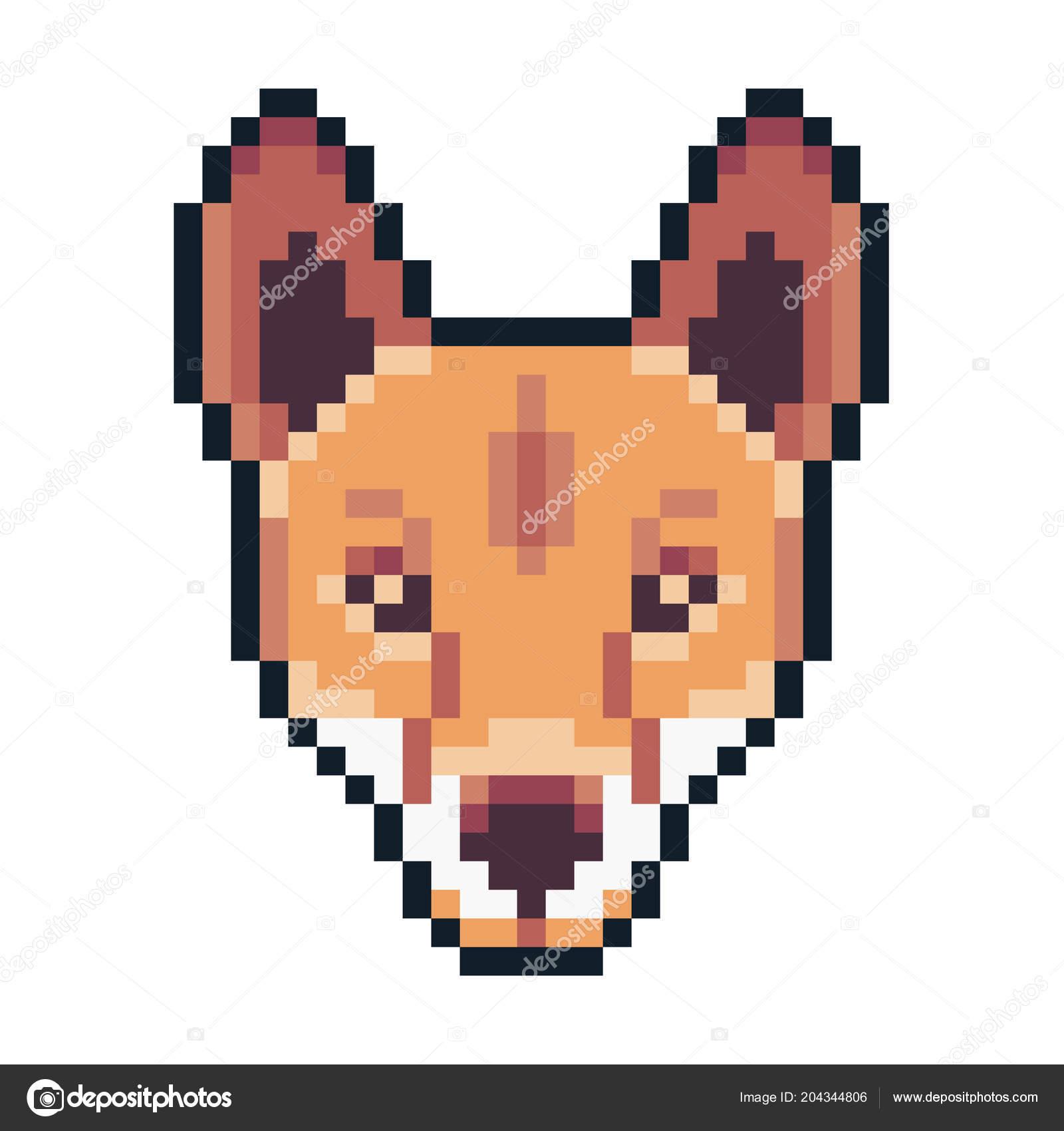Icône Dingo Pixel Art Isolé Sur Fond Blanc Image