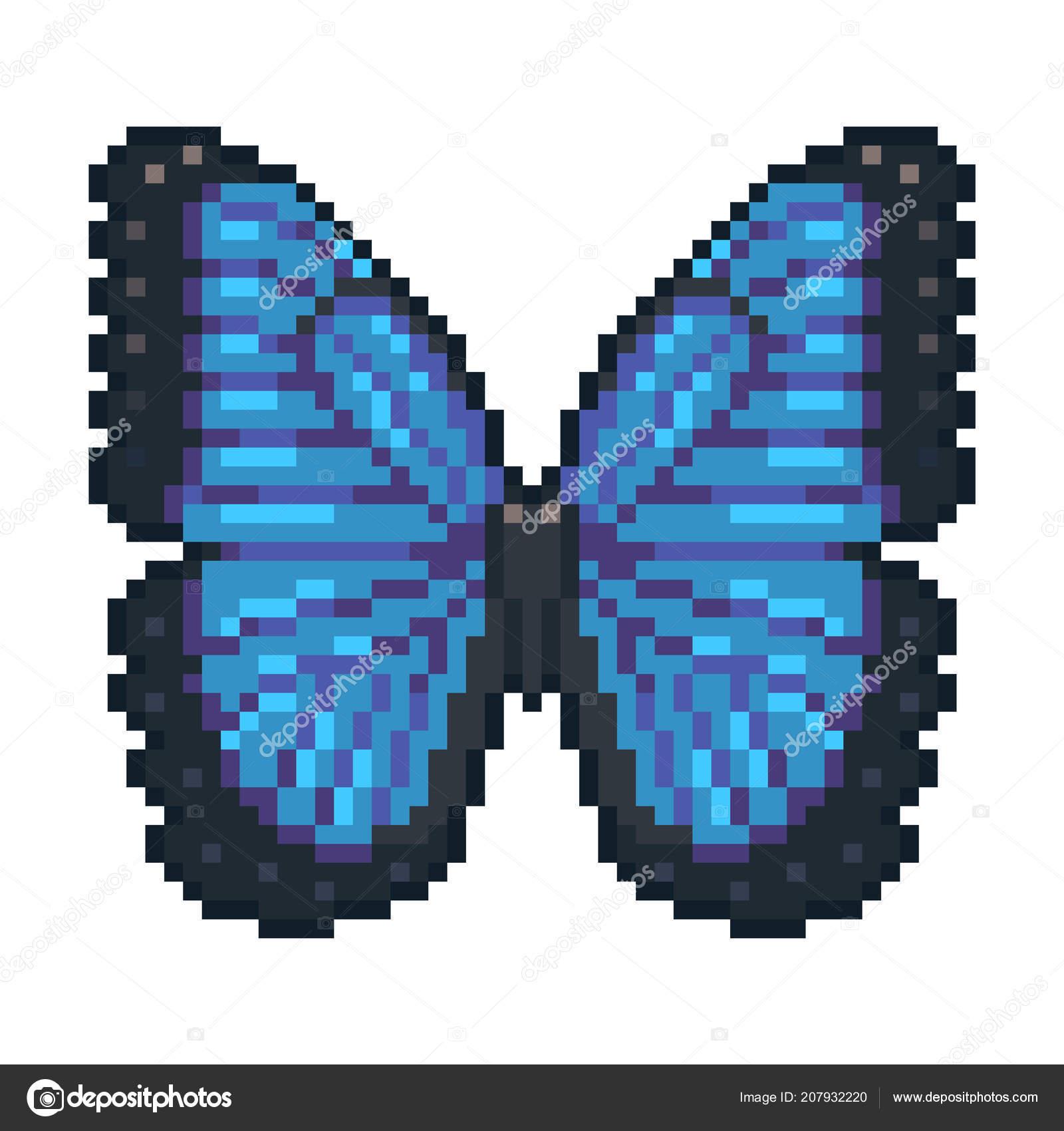 Pixel Art Vector Blue Morpho Butterfly Isolated White