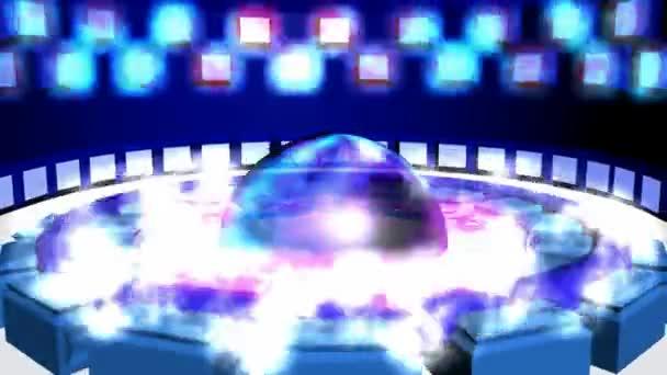 Pohyb kruhový animace fialové modré s transparentní koule. Abstraktní kruhového tvaru a torus na podlaze. Zářící čtverečky nad