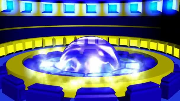 Pohybu kruhovém pozadí žlutá modrá průhledná koule. Abstraktní kruhového tvaru a válec na podlaze. Čtverce s záře nad.