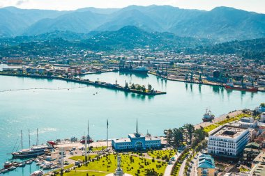 Panoramic view of the port of Batumi on a sunny day