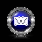 Ikona knihy. Kovové tlačítko internet na černém pozadí