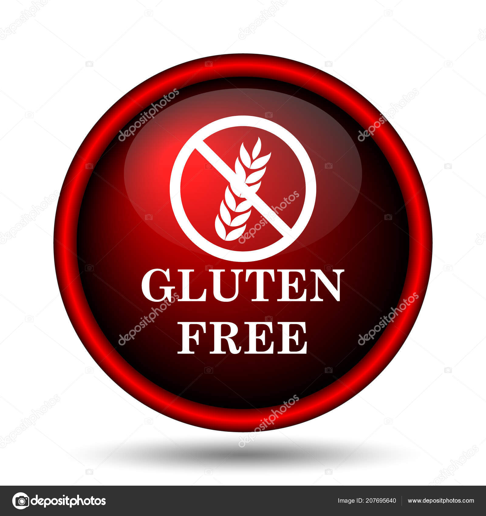 Gluten Free Icon Internet Button White Background — Stock