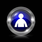 Ikonu profilu uživatele. Kovové tlačítko internet na černém pozadí