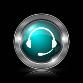 Ikona sluchátek. Kovové tlačítko internet na černém pozadí