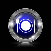 Restaurace ikona. Kovové tlačítko internet na černém pozadí