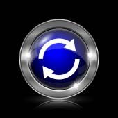 Znovu načíst dvě šipky ikona. Kovové tlačítko internet na černém pozadí