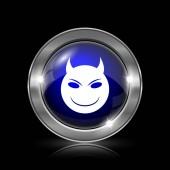 Zlo ikona. Kovové tlačítko internet na černém pozadí