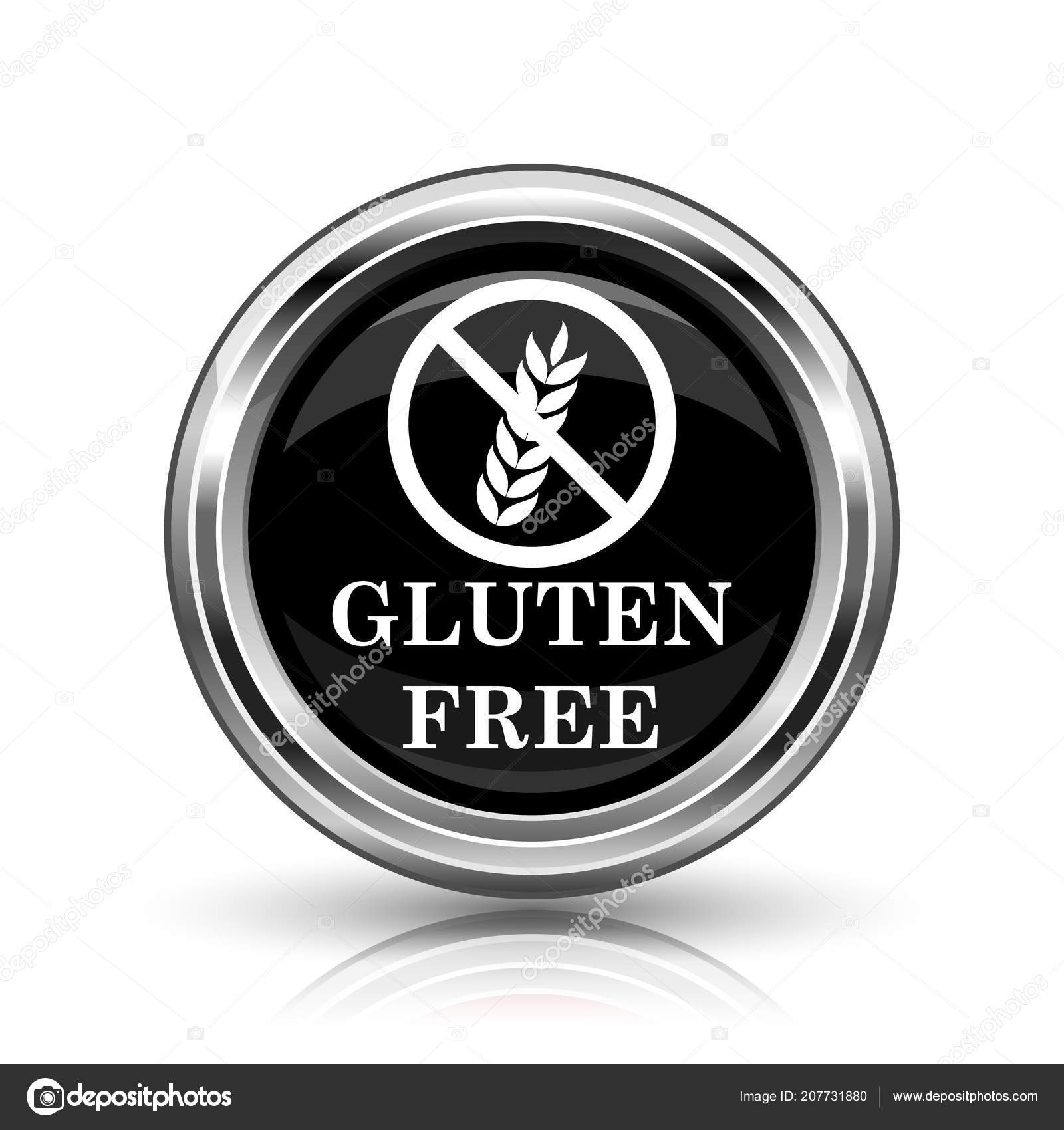 Gluten Free Icon Metallic Internet Button White Background