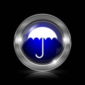 Ikona deštník. Kovové tlačítko internet na černém pozadí