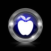 Ikona Apple. Kovové tlačítko internet na černém pozadí