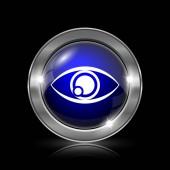 Ikona oka. Kovové tlačítko internet na černém pozadí