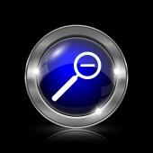 Oddálení mapy ikonu. Kovové tlačítko internet na černém pozadí