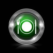 Stříbrné a zelené lesklé ikona na černém pozadí.