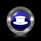Klobouk ikona. Kovové tlačítko internet na černém pozadí