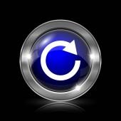 Znovu načte jednu ikonu šipky. Kovové tlačítko internet na černém pozadí