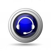 Ikona sluchátek. Internet tlačítko na bílém pozadí