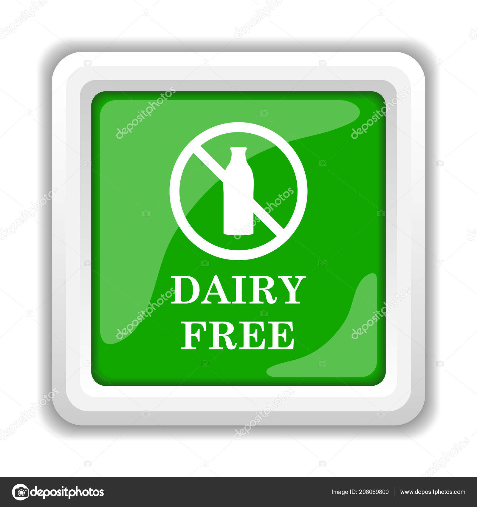 Dairy Free Icon Internet Button White Background — Stock