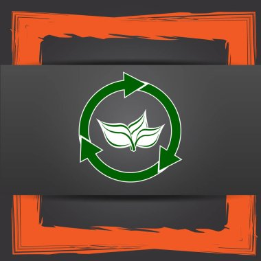 Recycle arrows icon. Internet button on grey background