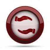 Ochrana rukou ikonu. Internet tlačítko na bílém pozadí