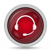 Headphones icon. Internet button on white background