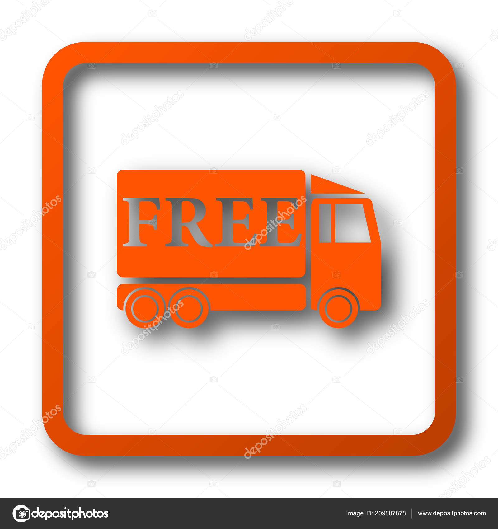 Free Delivery Truck Icon Internet Button White Background
