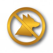 Verbotene Hunde-Symbol. Internet-Button auf weißem Hintergrund