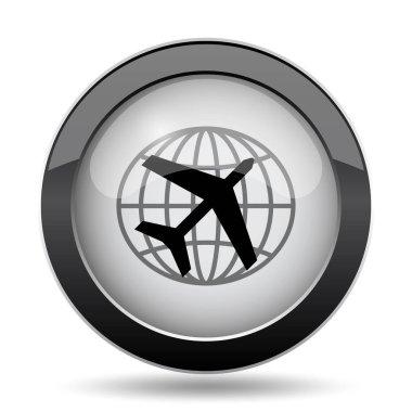 Travel icon. Internet button on white background