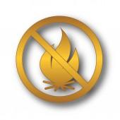 Feuer-verbotene Symbol. Internet-Button auf weißem Hintergrund