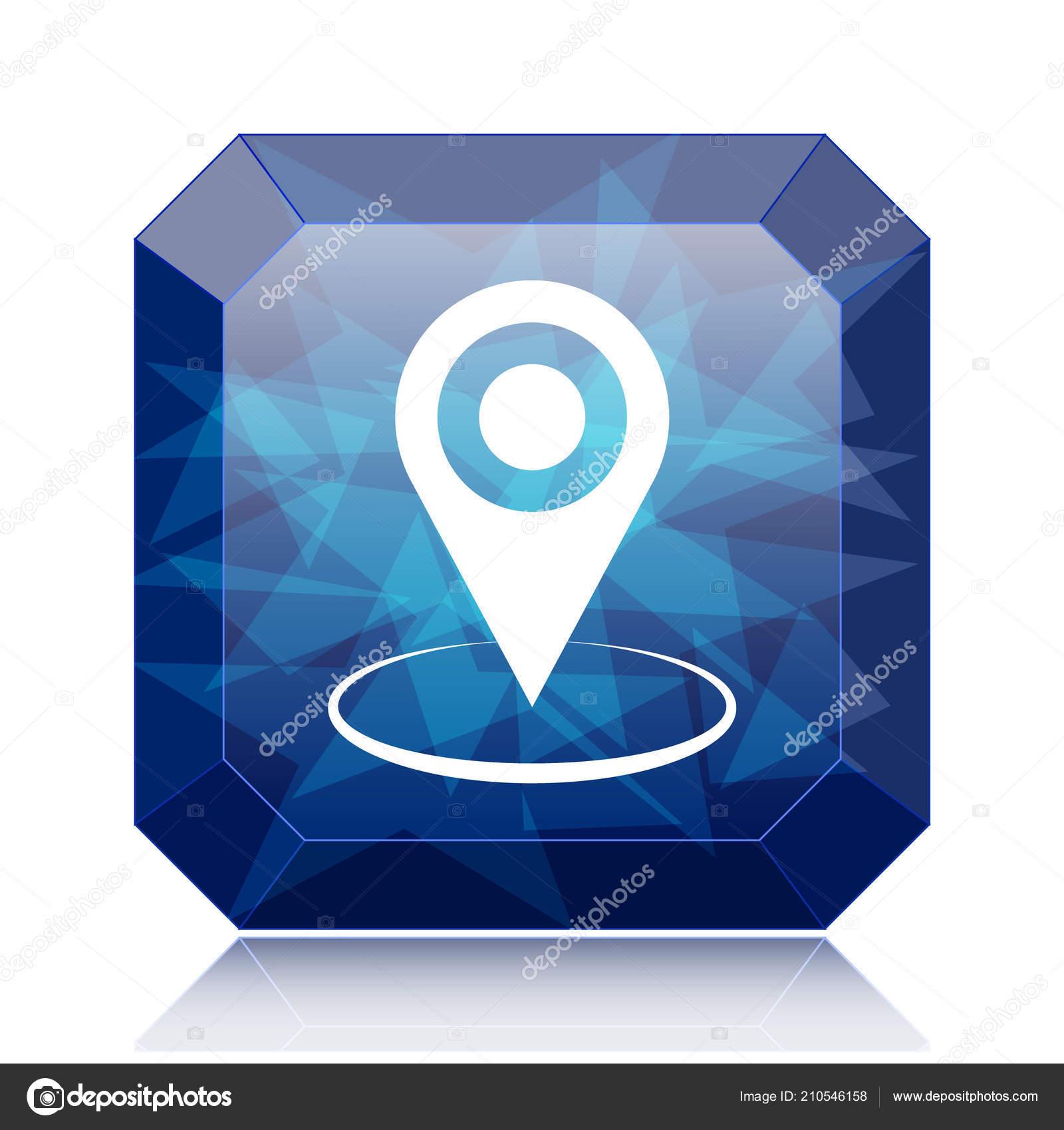 Pin Код Местоположения Значок Синий Сайт Кнопка Белом Фоне