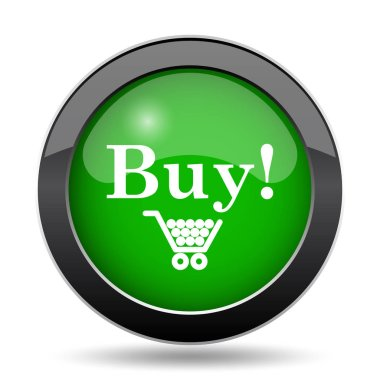 Buy icon, green website button on white background