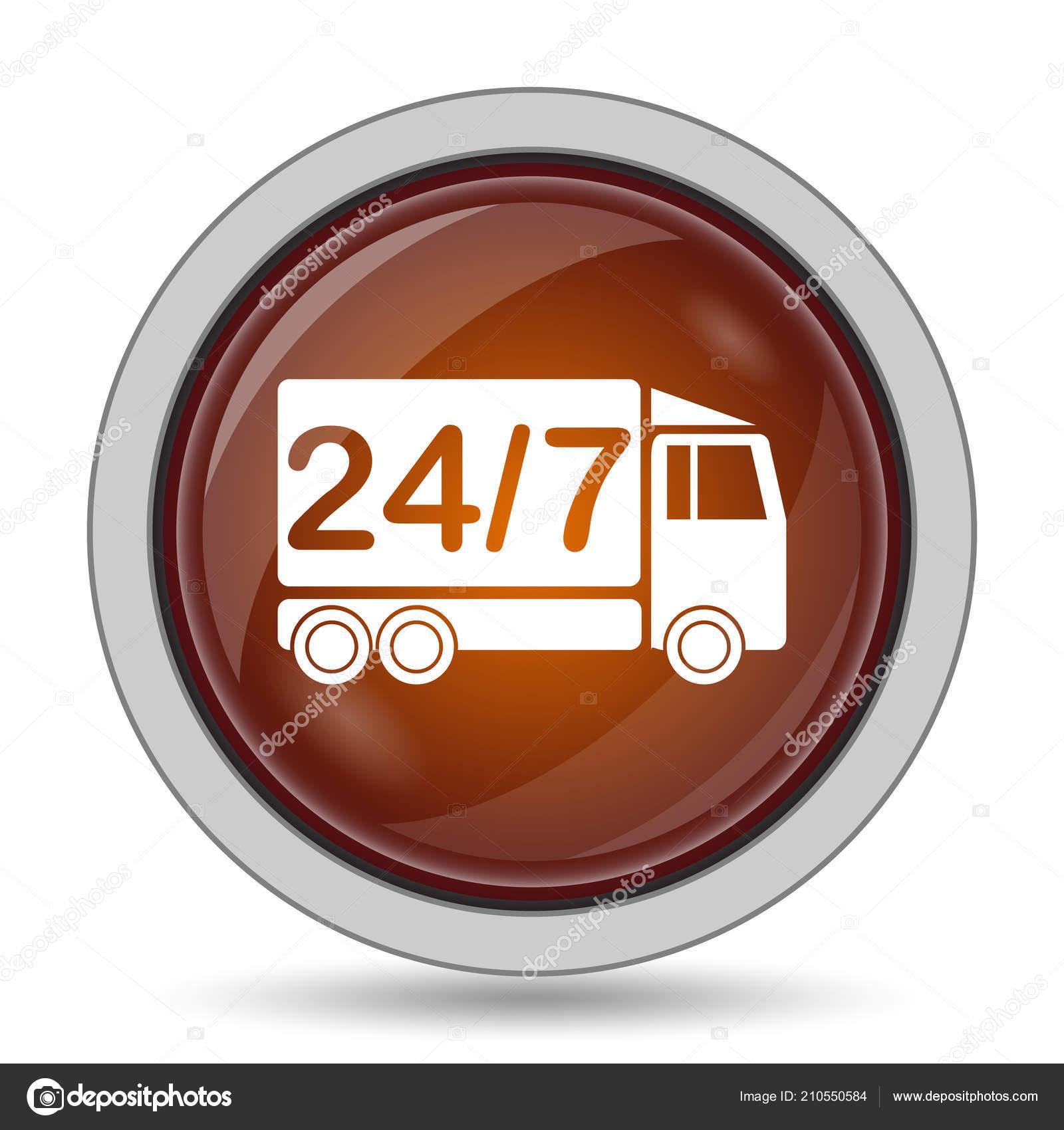 Delivery Truck Icon Orange Website Button White Background